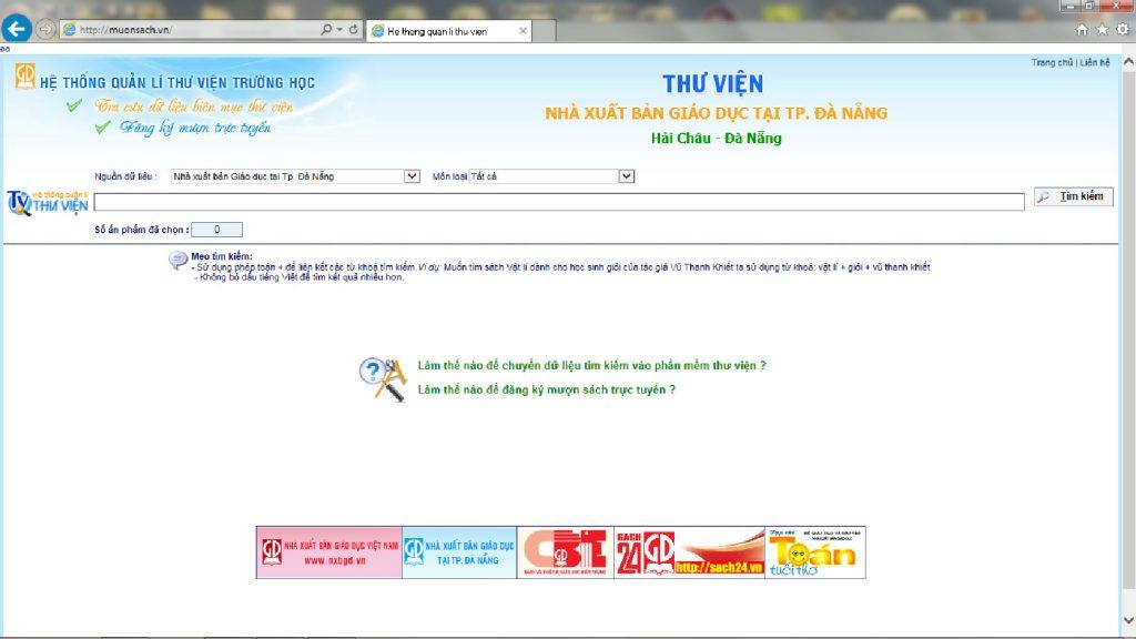 Trang web thư viện: tìm kiếm, đăng kí mượn tài liệu từ xa qua internet