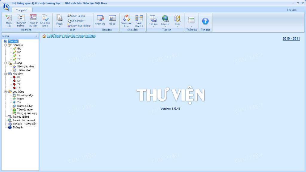 Giao diện chính Phần mềm Quản lý Thư viện