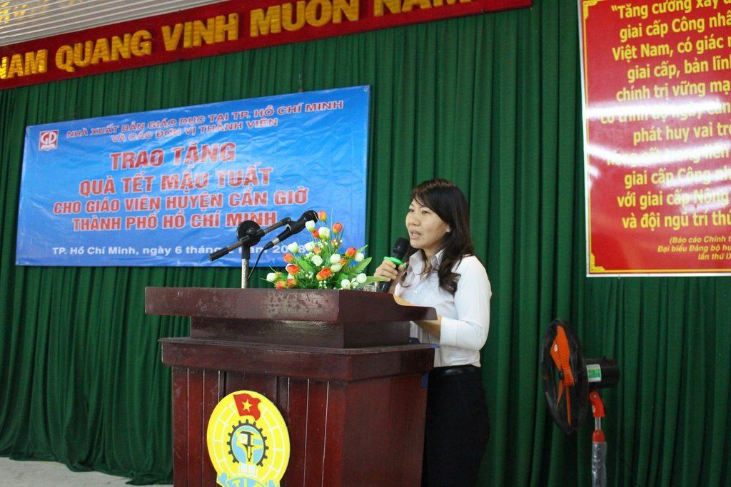 phát biểu của đại diện các thầy, cô giáo Huyện Cần Giờ tại buổi trao tặng quà Tết Mậu Tuất 2018